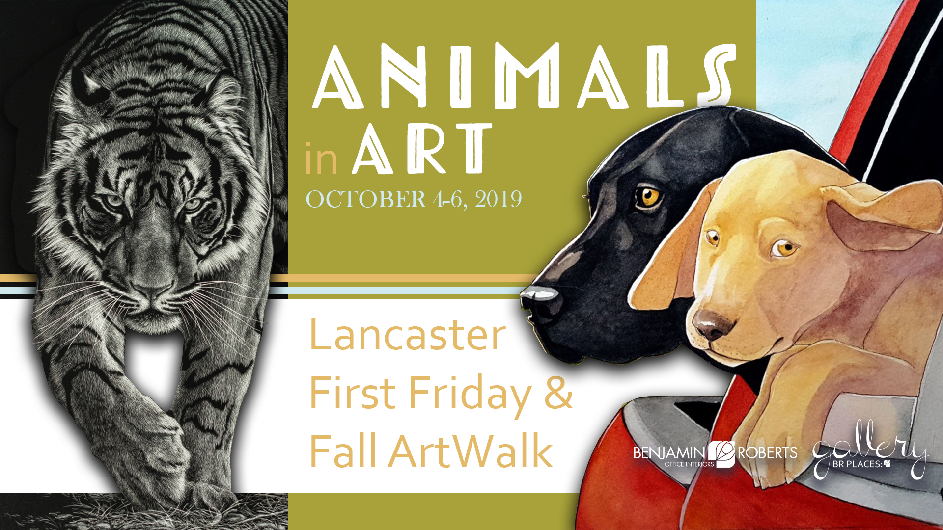 animals in art gallery event graphic